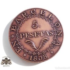 Medallas temáticas: BARCELONA 5 PESETAS 1808 IBERSELEX X ANIVERSARIO 1995. Lote 116701195