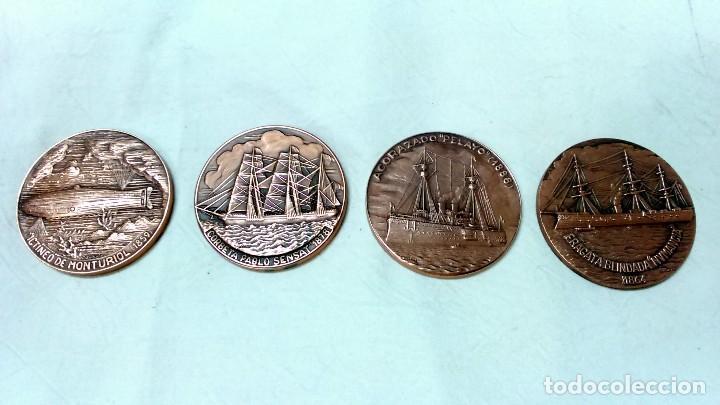 LOTE 4 MEDALLAS BRONCE SALON NAUTICO INTERNACIONAL, BARCELONA. AÑOS 1982 A 1985. (Numismática - Medallería - Temática)