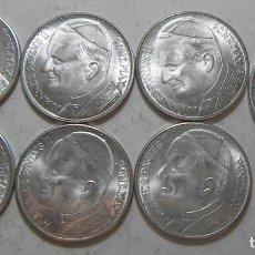 Medallas temáticas: LOTE DE 7 MEDALLAS DEL PAPA JUAN PABLO II EN SU VIAJE A ESPAÑA. Lote 118826339
