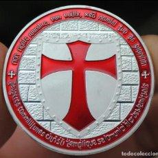 Medallas temáticas: MONEDA PLATEADA CABALLEROS TEMPLARIOS. Lote 143228634