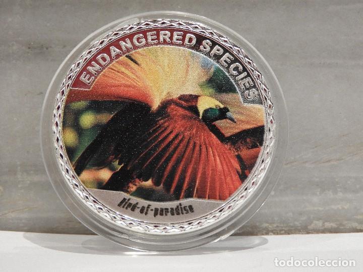 MONEDA PLATA CONMEMORATIVA ANIMALES EN PELIGRO DE EXTINCION - BIRD OF PARADISE 100$ (Numismática - Medallería - Temática)