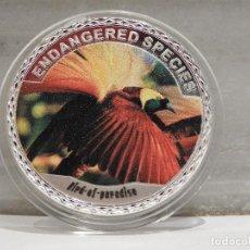 Medallas temáticas: MONEDA PLATA CONMEMORATIVA ANIMALES EN PELIGRO DE EXTINCION - BIRD OF PARADISE 100$. Lote 121984943