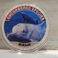 Medallas temáticas: MONEDA PLATA CONMEMORATIVA ANIMALES EN PELIGRO DE EXTINCION - BAIJI - DELFIN CHINO DE RIO 100$. Lote 121985071