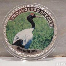 Medallas temáticas: MONEDA PLATA CONMEMORATIVA ANIMALES EN PELIGRO DE EXTINCION - GRULLA DE CUELLO NEGRO 100$. Lote 121985311