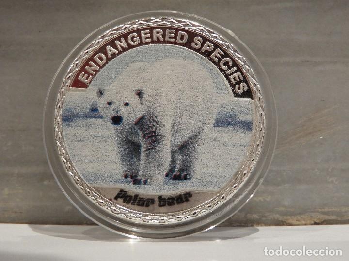 MONEDA PLATA CONMEMORATIVA ANIMALES EN PELIGRO DE EXTINCION - OSO POLAR 100$ (Numismática - Medallería - Temática)