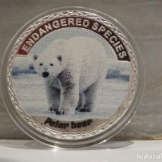 Medallas temáticas: MONEDA PLATA CONMEMORATIVA ANIMALES EN PELIGRO DE EXTINCION - OSO POLAR 100$. Lote 122124459