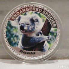 Medallas temáticas: MONEDA PLATA CONMEMORATIVA ANIMALES EN PELIGRO DE EXTINCION - KOALA 100$. Lote 122124591