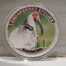 Medallas temáticas: MONEDA PLATA CONMEMORATIVA ANIMALES EN PELIGRO DE EXTINCION - AVE JAPONESA 100$. Lote 122125075