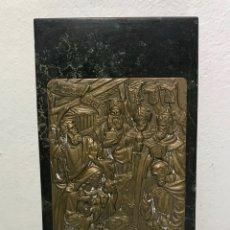 Medallas temáticas: PLACA MEDALLA DE BRONCE. ADORACIÓN DE LOS REYES. 1979. FIRMADO CABRAL ANTÚNEZ. CON BASE DE MÁRMOL.. Lote 122550727