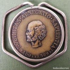 Medallas temáticas: PINZA PORTABILLETES. MONEDA-MEDALLA DE SOCRATES. ROCHE 1896. SIGLO XX. . Lote 123128431