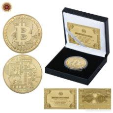 Medallas temáticas: BITCOIN CHAPADO EN ORO DE 24 KILATES CON CERTIFICADO. EN CÁPSULA NUMISMÁTICA Y ESTUCHE. Lote 211664549
