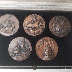 Medallas temáticas: LAS CINCO PRIMERAS MEDALLAS DEL SALÓN NAUTICO AÑOS 1963-64-65-66-67 EN SU ESTUCHE. Lote 128480847