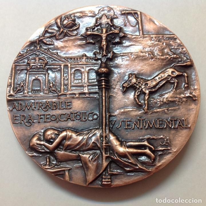 Medallas temáticas: Medalla de bronce de la FNMT, a Ramon del Valle Inclán, 8,5 cms. de diámetro. Nueva, de JLH - Foto 2 - 146694548