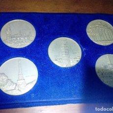 Medallas temáticas: 5 MEDALLA MONEDAS. PAISES MIEMBRO DE LA C.E.E. FRANCIA. ITALIA. HOLANDA. BELGICA. ALEMANIA.. Lote 133384414
