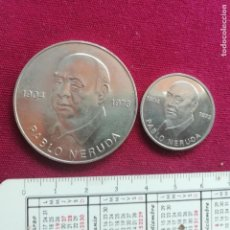 Medallas temáticas: PABLO NERUDA. 2 MEDALLAS DE LA DDR. ALEMANIA ORIENTAL. 1973. Lote 137417614