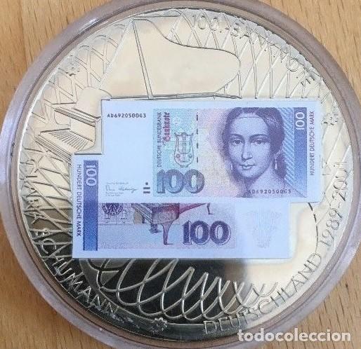 BONITA MONEDA PLATA CON LA IMAGEN DE UN BILLETE DE 100 DM CON CLARA SCHUMANN DE ALEMANIA (Numismática - Medallería - Temática)