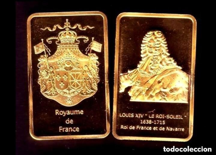 LINGOTE CHAPADO EN ORO PLATEADO / ORO REY DE FRANCIA LOUIS XIV (Numismática - Medallería - Temática)