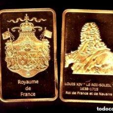 Medallas temáticas: LINGOTE CHAPADO EN ORO PLATEADO / ORO REY DE FRANCIA LOUIS XIV. Lote 138973606