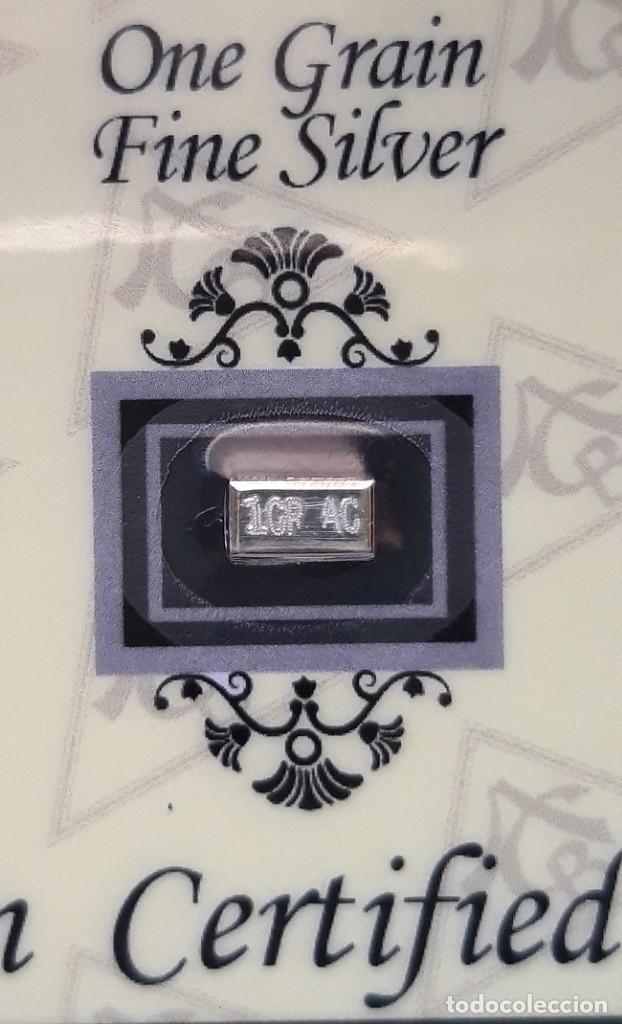 Medallas temáticas: LINGOTE DE PLATA MAS PEQUEÑO DEL MUNDO - MUY RARO - 1 GRAIN - 999 PLATA FINA PURA - PARA COLOCACIÓN - Foto 3 - 183724965