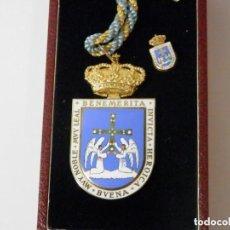 Medallas temáticas: MEDALLA CORPORATIVA AYUNTAMIENTO DE OVIEDO 1991, PLATA Y ESMALTE, 78 X 43 MM, 70 GR. . Lote 143595373