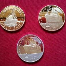 Medallas temáticas: 3 MONEDAS -SERIE TITANIC- ORO, ORO-PLATEADA CONMEMORATIVAS RUTA-HUNDIMIENTO DEL TITANIC 15 DE ABRIL. Lote 140902310