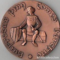 Medallas temáticas: [CATALUNYA; RIPOLL:] INAUGURACIÓ MONUMENT FUNERARI GUIFRÉ I EL PILÓS (1982) BRONCE 60 MM. 120 GR.. Lote 141123158
