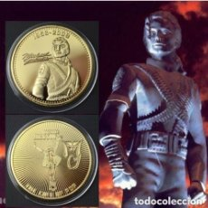 Medallas temáticas: MICHAEL JACKSON MONEDA COIN MEDALLA GOLD PLATED 24K. THE KING OF POP AUTOGRAPH. Lote 143045634
