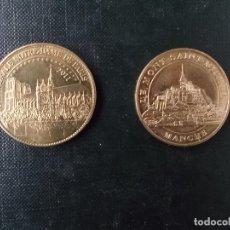 Medallas temáticas: MEDALLAS DE FRANCIA LE MONT SANT MICHEL Y CATEDRAL NOTRE DAMM. Lote 143370606