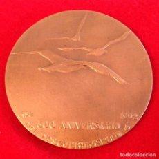 Medallas temáticas: MEDALLA DEL 500 ANIVERSARIO DEL DESCUBRIMIENTO, 1992, BRONCE, 85 CM. FIRMADO CON MARCA. NUEVA.. Lote 161589514