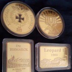 Medallas temáticas: GRAN LOTE TEMATICO ORO DE LINGOTES Y MONEDAS DEL BISMARCK , LEOPARD I Y DEL LA REICHSBANK ALEMANA. Lote 106172535