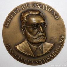 Medallas temáticas: MIGUEL DE UNAMUNO. MEDALLA DEL CINCUENTENARIO DE SU MUERTE. AÑO 1.986. RARA (SOLO A UNA CARA). Lote 148560174