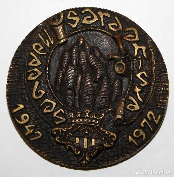MEDALLA EN BRONCE COLLA SARDANISTA DE SABADELL. 25 ANIVERSARI (1947 - 1972) (Numismática - Medallería - Temática)