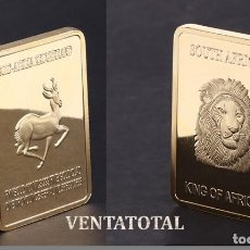 Medallas temáticas: AFRICA LINGOTE ORO 24 KILATES 41 GRAMOS ( HOMENAJE A LA GACELA Y LEON AFRICANO ) Nº3. Lote 151326746