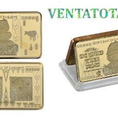 Medallas temáticas: ZIMBABWE LINGOTE 100 BILLONES DE DOLARES ORO DE 24 KILATES 45 GR Nº7. Lote 198878797