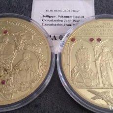 Medallas temáticas: BONITAS 2 MEDALLAS XXL CONMEMORATIVAS A LA DOBLE CANONIZACION DEL PAPA JUAN XXIII Y JUAN PABLO II. Lote 153533270
