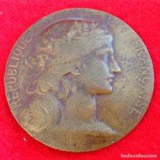 Medallas temáticas: MEDALLA DE BRONCE ART NOUVEAU DE DANIEL DUPUIS 1849-1899, 5 CM. DE DIAMETRO, PREMIO MINIST. GUERRA. Lote 154402954