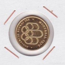 Medallas temáticas: MEDALLA JUEGOS OLÍMPICOS MONTREAL 76 ( BAÑADA EN ORO ). Lote 156663446