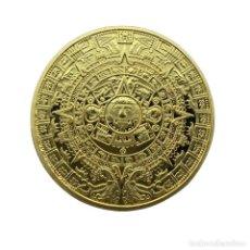Medallas temáticas: PRECIOSA MONEDA DE ORO DE COLECCION CON CALENDARIO AZTECA . Lote 158328818