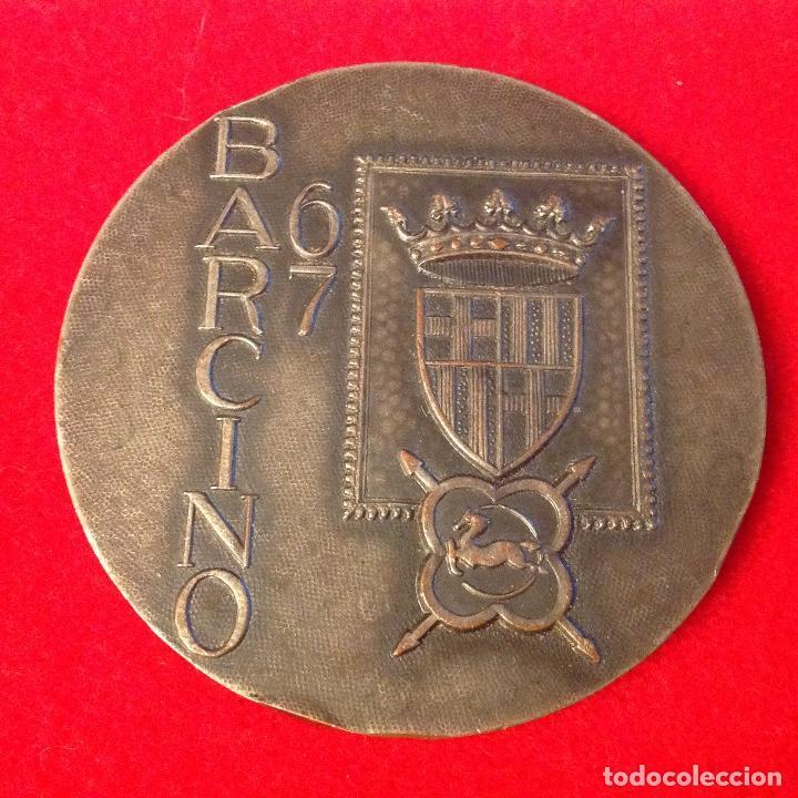 MEDALLA MEDALLA, EXPOSICION FILATÉLICA NACIONAL, BARCINO, BARCELONA 1967, 6 CM. DE DIAMETRO, (Numismática - Medallería - Temática)