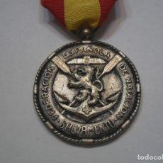 Medallas temáticas: MEDALLA FEDERACIÓN ESPAÑOLA DE NATACIÓN-MEDALLA DE SALVAMENTO, CON SU CINTA DE ORIGEN. Lote 42963651