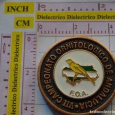 Medallas temáticas: MEDALLA MEDALLÓN MONEDA. CAMPEONATO ORNITOLÓGICO DE ANDALUCÍA GRANADA 1999. AVES PÁJAROS. 30 GR. Lote 161171894