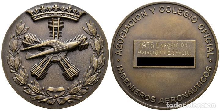 *** MEDALLA DE EXPOSICIÓN 1978 ASOCIACIÓN Y COLEGIO OFICIAL DE INGENIEROS AERONÁUTICOS *** (Numismática - Medallería - Temática)