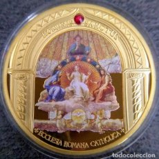 Medallas temáticas: BONITA MONEDA CON ORO Y SWAROVSKI DE LA MADRE TERESA DE CALCUTA Y LA IGLESIA CATOLICA. Lote 162887054