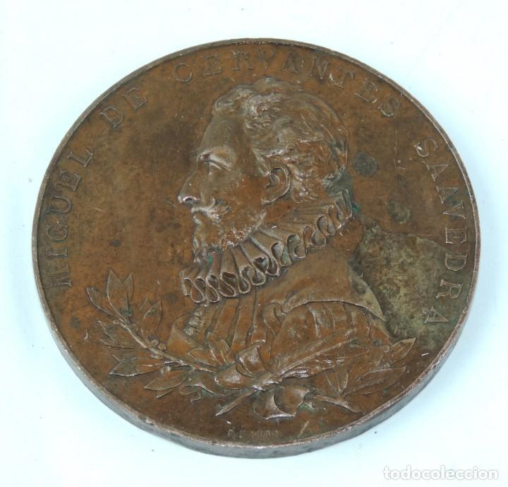 MEDALLA 1905 III CENTENARIO DE LA PUBLICACION DEL QUIJOTE, ANVERSO: MIGUEL DE CERVANTES SAAVEDRA, BU (Numismática - Medallería - Temática)