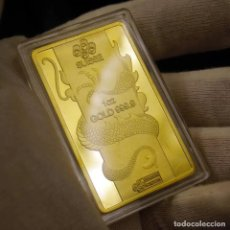 Medallas temáticas: LINGOTE DE ORO CON DRAGON - EDICIÓN LIMITADA -. Lote 165059314