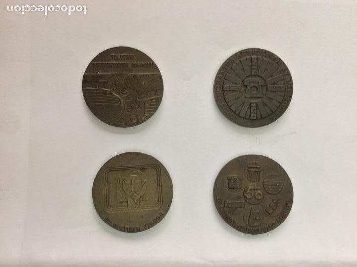 MONEDAS CONMEMORATIVAS DE LA COMPAÑÍA NACIONAL TELEFÓNICA ESPAÑOLA 1971-72-73-75 (Numismática - Medallería - Temática)