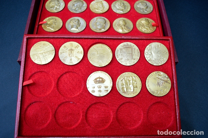 Medallas temáticas: 23 MEDALLAS REYES DE ESPAÑA COLECCION CALICO CON MONETARIO - Foto 6 - 166576402