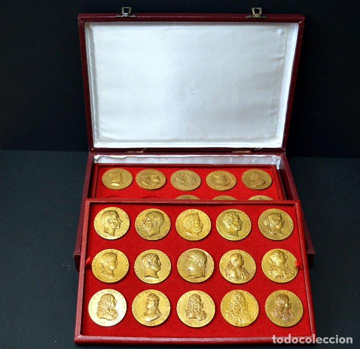 Medallas temáticas: 23 MEDALLAS REYES DE ESPAÑA COLECCION CALICO CON MONETARIO - Foto 12 - 166576402