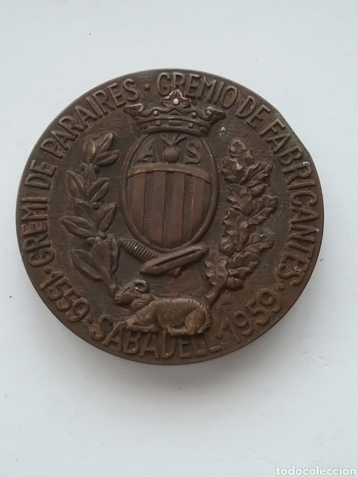 Medallas temáticas: Medalla en bronce Gremio de Paraires. Gremio de Fabricantes 1959. Sabadell. - Foto 2 - 167022757