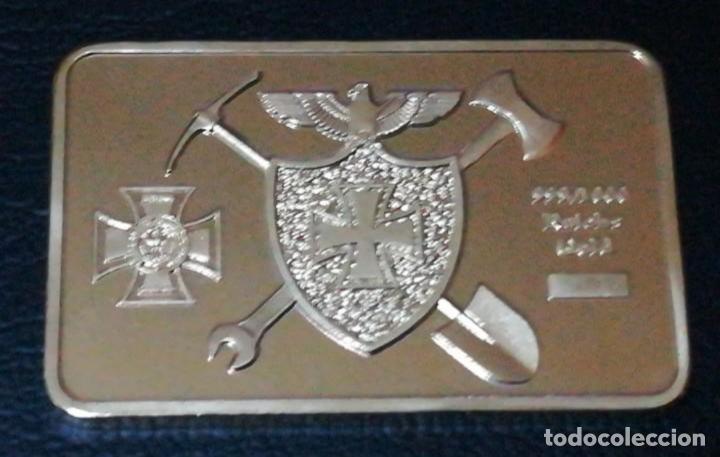 LINGOTE MONEDA CON ESCUDOS EN RELIEVE CHAPADO EN ORO (Numismática - Medallería - Temática)